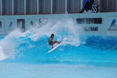 Mahina Maeda laying down a frontside hack in preparation for surfing's Olympic debut.