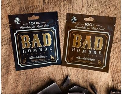Barras de chocolate artesanal Bad Hombre Cannabis de 12g cargadas con 100mg de extracto de THC. (PRNewsfoto/Tre HoldCo.)